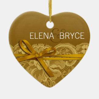 Bows Ribbon & Lace Photo | gold Ceramic Ornament