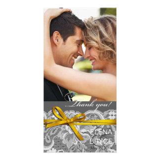 Bows Ribbon & Lace Photo gray yellow Card