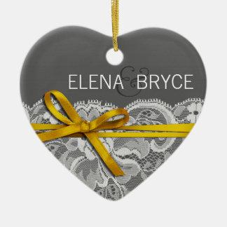 Bows Ribbon & Lace Photo | gray yellow Ceramic Ornament