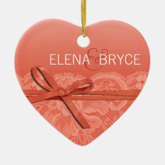 Bows Ribbon & Lace Photo | peach Ceramic Ornament
