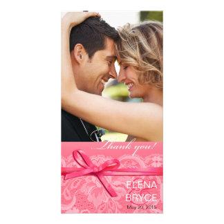 Bows Ribbon & Lace Photo pink Card
