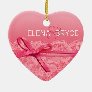 Bows Ribbon & Lace Photo | pink Ceramic Ornament