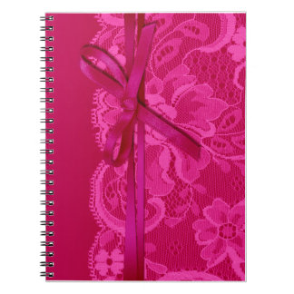 Bows Ribbon & Lace Planner fuschia Spiral Notebook