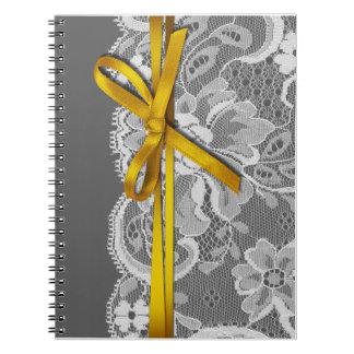 Bows Ribbon & Lace Planner gray yellow Notebook