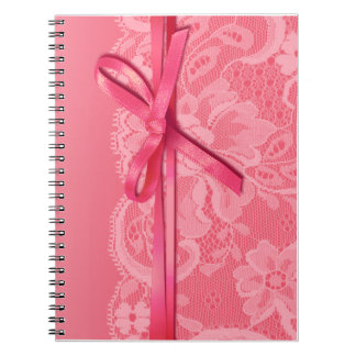 Bows Ribbon & Lace Planner pink Spiral Notebook