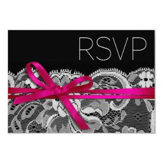 Bows Ribbon & Lace RSVP black fuschia Card