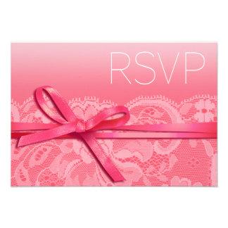 Bows Ribbon & Lace RSVP pink Invitations