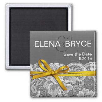 Bows Ribbon & Lace Save the Date gray yellow Magnet