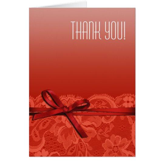 Bows Ribbon & Lace Thank You | coral Card
