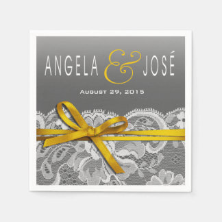 Bows Ribbon & Lace Wedding Party | gray yellow Paper Napkin