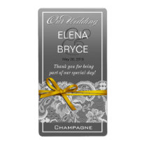 Bows Ribbon & Lace Wine Label | gray yellow