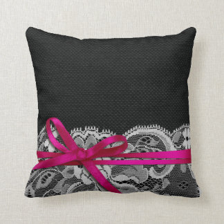 Bows Ribbon & Lace with Burlap black fuschia Throw Pillow