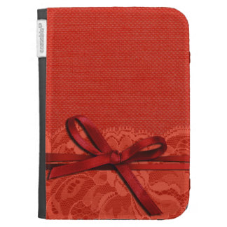 Bows Ribbon Lace with Burlap coral Kindle Cases