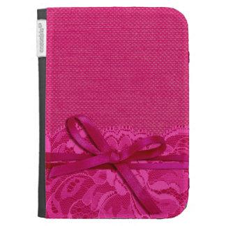 Bows Ribbon Lace with Burlap fuschia Kindle Keyboard Case