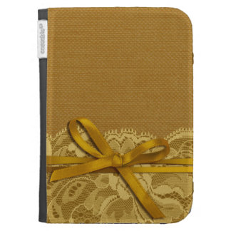 Bows Ribbon Lace with Burlap gold Kindle Cover