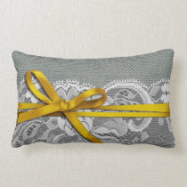 Bows Ribbon & Lace with Burlap gray yellow