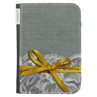 Bows Ribbon Lace with Burlap gray yellow Kindle 3 Case