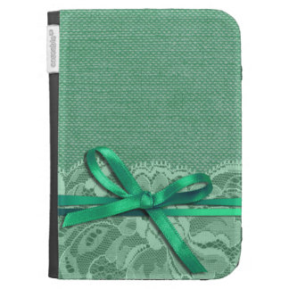 Bows Ribbon Lace with Burlap mint Kindle 3G Cover