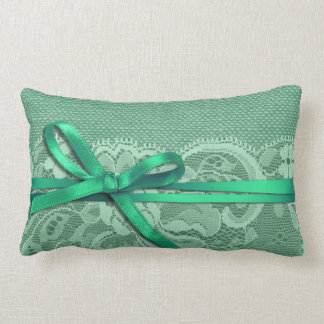 Bows Ribbon Lace with Burlap mint Throw Pillow