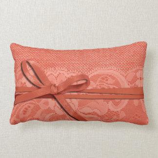 Bows Ribbon Lace with Burlap peach Pillows