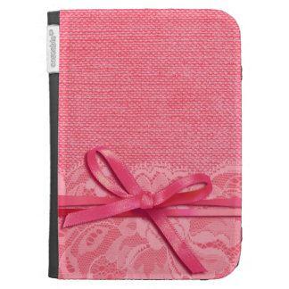 Bows Ribbon Lace with Burlap pink Case For Kindle