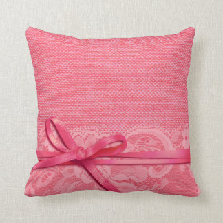Bows Ribbon & Lace with Burlap pink Throw Pillow