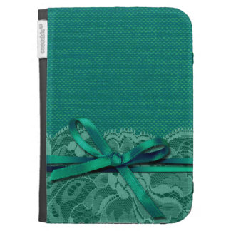 Bows Ribbon Lace with Burlap teal Kindle Keyboard Case