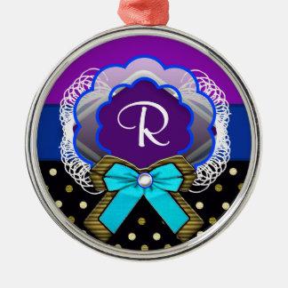 bowspot monogram metal ornament
