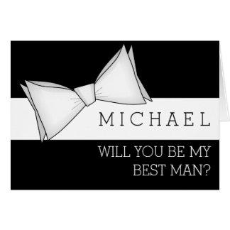 Bowtie blanco en negro usted será mi mejor hombre tarjeta pequeña