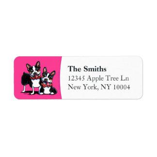 Bowtie Boston Terriers Hot Pink Label