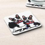 Bowtie Boston Terriers Off-Leash Art™ Beverage Coaster