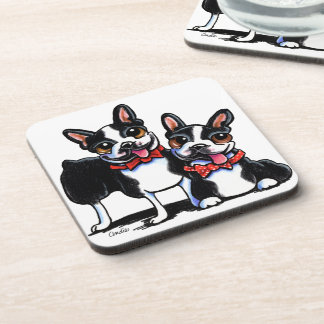 Bowtie Boston Terriers Off-Leash Art™ Drink Coaster