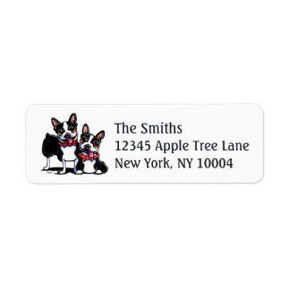Bowtie Boston Terriers Off-Leash Art™ Label
