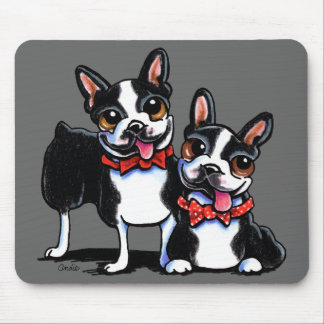 Bowtie Boston Terriers Off-Leash Art™ Mouse Pad