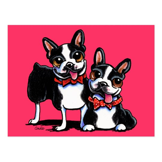 Bowtie Boston Terriers Off-Leash Art™ Postcard