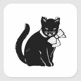 Bowtie Cat Square Sticker