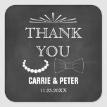 Bowties and Pearls Wedding Thank You Sitckers Square Sticker
