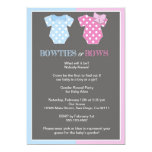 Bowties or Bows Gender Reveal Invitaition 5x7 Paper Invitation Card