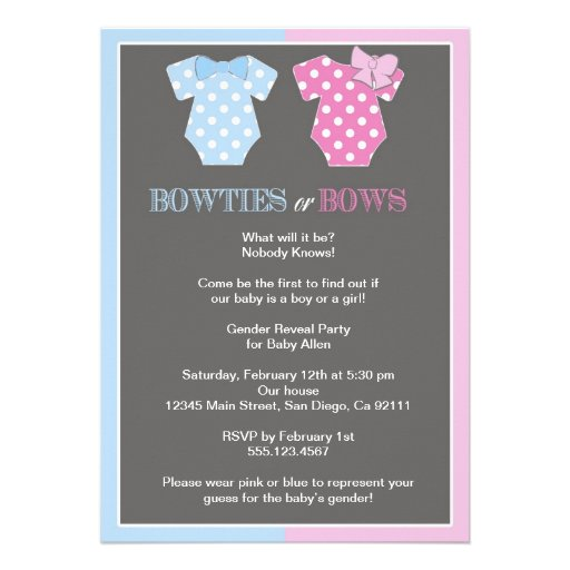 Bowties or Bows Gender Reveal Invitaition Personalized Invitations