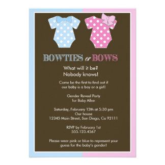 Bowties or Bows Gender Reveal Invitation