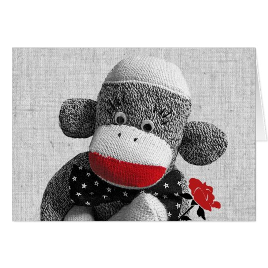 Bowty The Sock Monkey Greeting Card