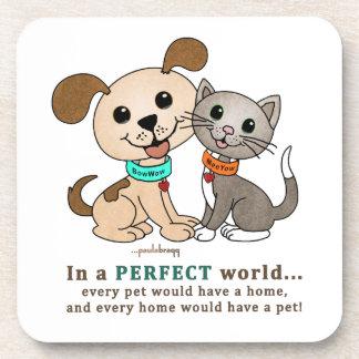 BowWow and MeeYow (Pet Adoption-Humane Treatment) Beverage Coaster