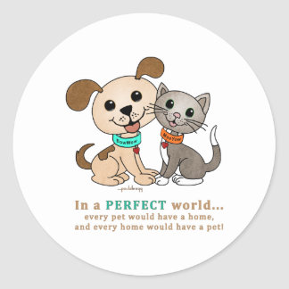 BowWow and MeeYow (Pet Adoption-Humane Treatment) Classic Round Sticker