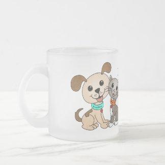 BowWow and MeeYow (Pet Adoption-Humane Treatment) Frosted Glass Coffee Mug