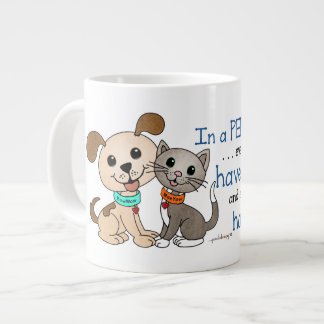 BowWow and MeeYow (Pet Adoption-Humane Treatment) Giant Coffee Mug