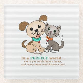 BowWow and MeeYow (Pet Adoption-Humane Treatment) Glass Coaster