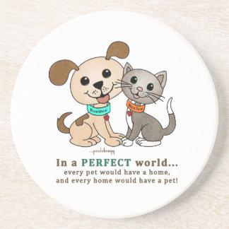 BowWow and MeeYow (Pet Adoption-Humane Treatment) Sandstone Coaster