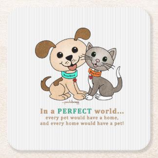 BowWow and MeeYow (Pet Adoption-Humane Treatment) Square Paper Coaster