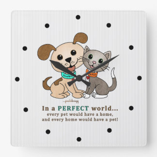 BowWow and MeeYow (Pet Adoption-Humane Treatment) Square Wall Clock