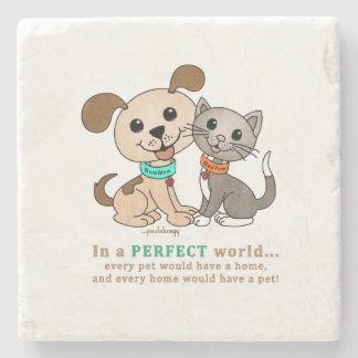 BowWow and MeeYow (Pet Adoption-Humane Treatment) Stone Coaster